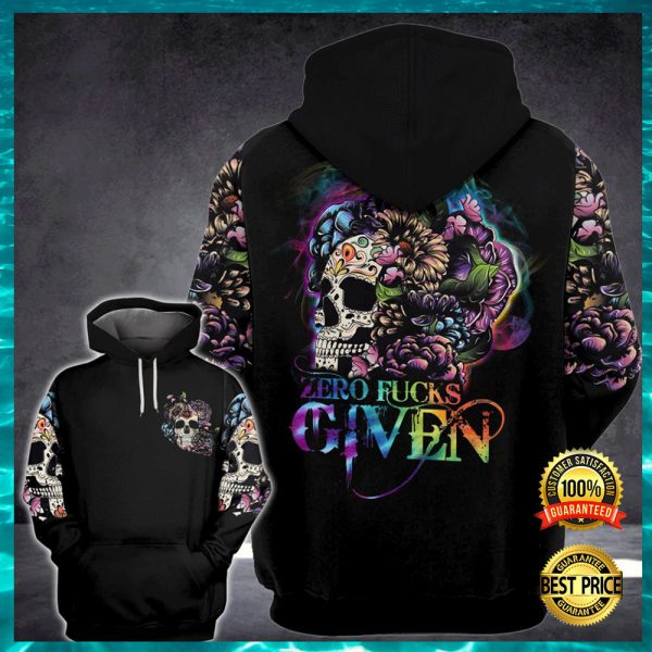 FLORAL SKULL ZERO FUCKS GIVEN ALL OVER PRINTED 3D HOODIE 3