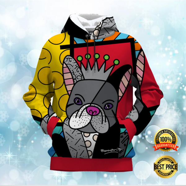 FRENCH BULLDOG BY ROMERO BRITTO ALL OVER PRINTED 3D HOODIE 3