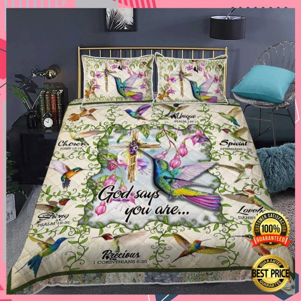 HUMMINGBIRD GOD SAYS YOU ARE UNIQUE SPECIAL LOVELY BEDDING SET 3