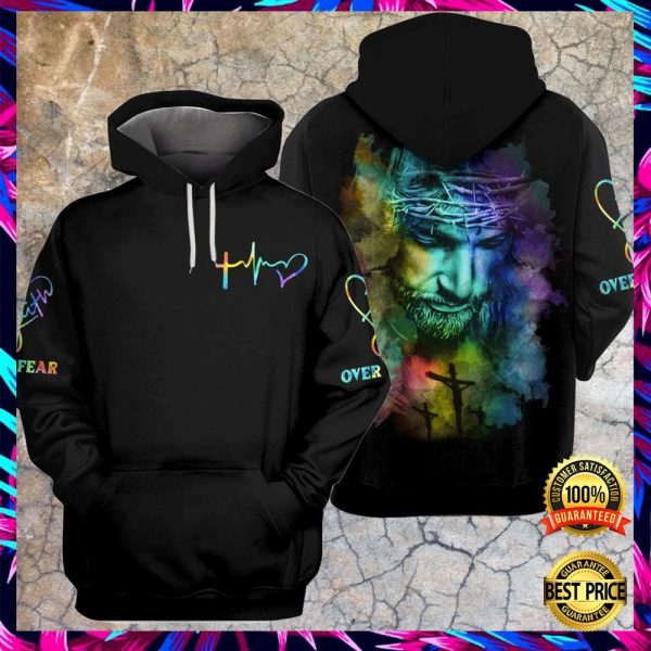 JESUS FAITH OVER FEAR COLORFUL ALL OVER PRINTED 3D HOODIE 3