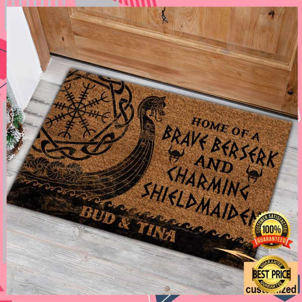PERSONALIZED HOME OF A BRAVE BERSERK AND CHARMING SHIELDMAIDEN DOORMAT 3
