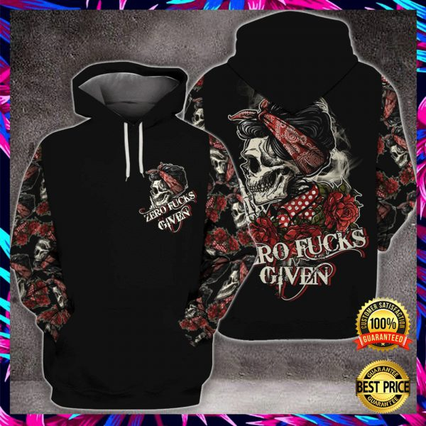 SKULL ZERO FUCKS GIVEN ALL OVER PRINTED 3D HOODIE 3