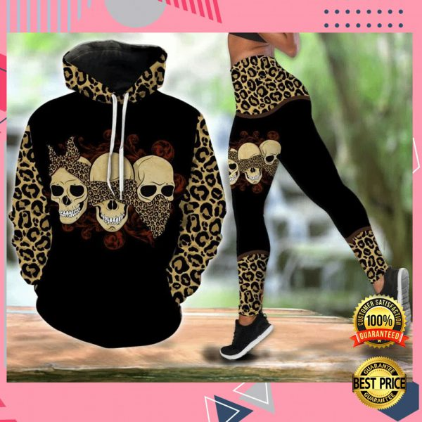 THREE SKULLS MOM LEOPARD LEATHER ALL OVER PRINTED 3D HOODIE AND LEGGING 3