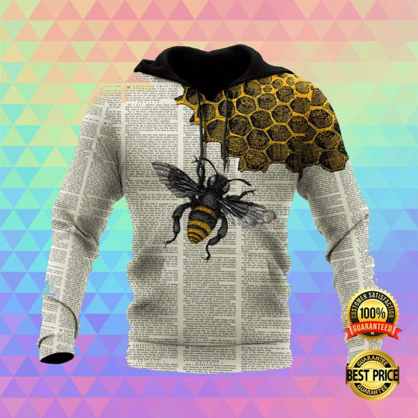 BEE DICTIONARY PAGE ALL OVER PRINTED 3D HOODIE 3