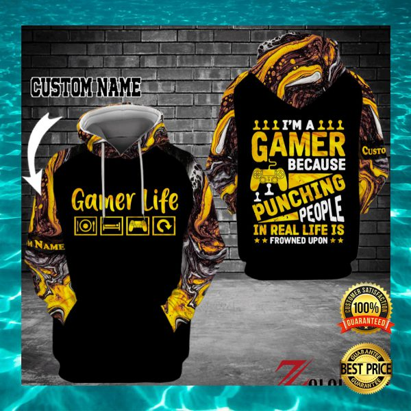 I'M A GAMER BECAUSE PUNCHING PEOPLE IN REAL LIFE IS FROWNED UPON ALL OVER PRINTED 3D HOODIE 3