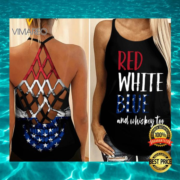 RED WHITE BLUE AND WHISKEY TOO CRISS-CROSS TANK TOP 3