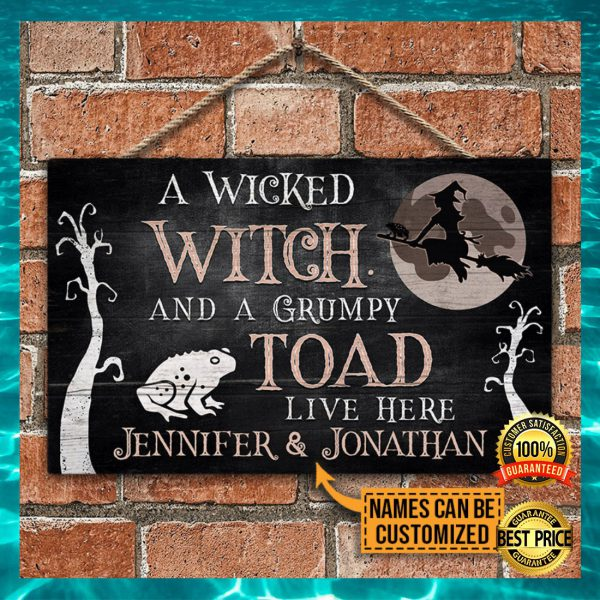 PERSONALIZED A WICKED WITCH AND A GRUMPY TOAD LIVE HERE DOOR SIGN 3