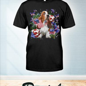 Basset Hound only one nation I love american flag 4th of july t-shirt