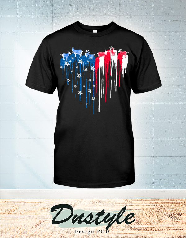 Goat freedom heart color american flag 4th of july t-shirt