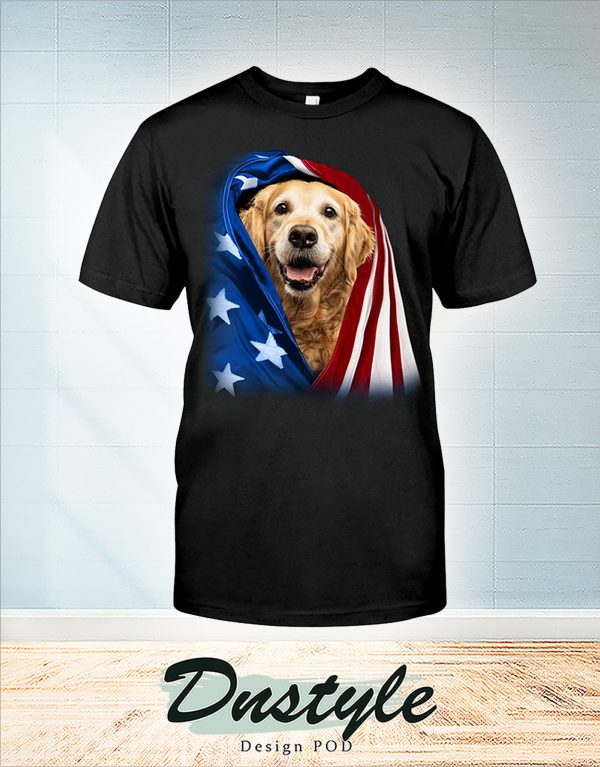 Golden Retriever wrapped in america flag 4th july shirt