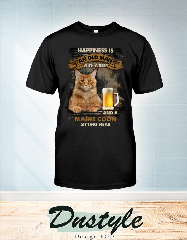 Happiness is an old man with a beer and a Maine Coon sitting near t-shirt