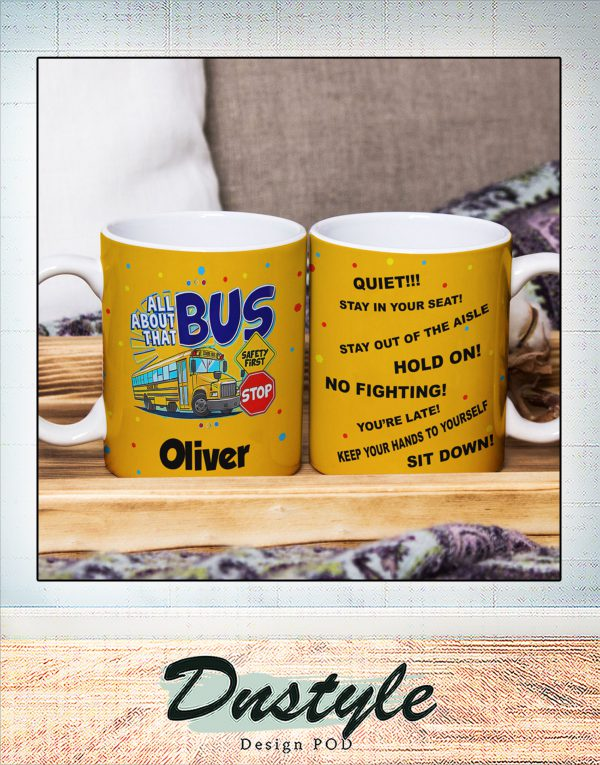 Personalized custom name all about school bus mug