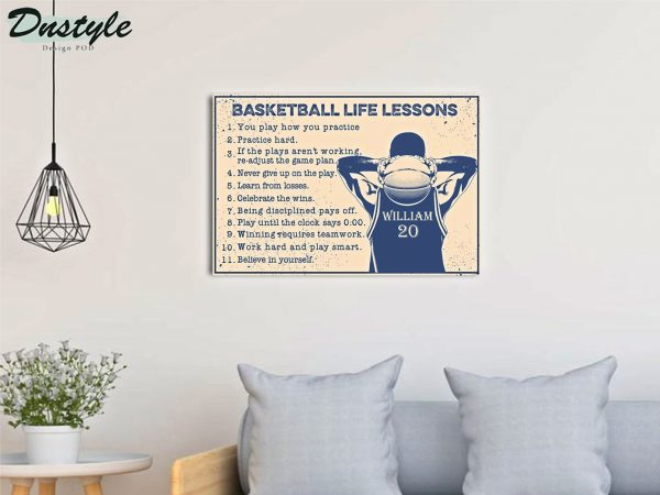 Personalized custom name basketball life lessons poster