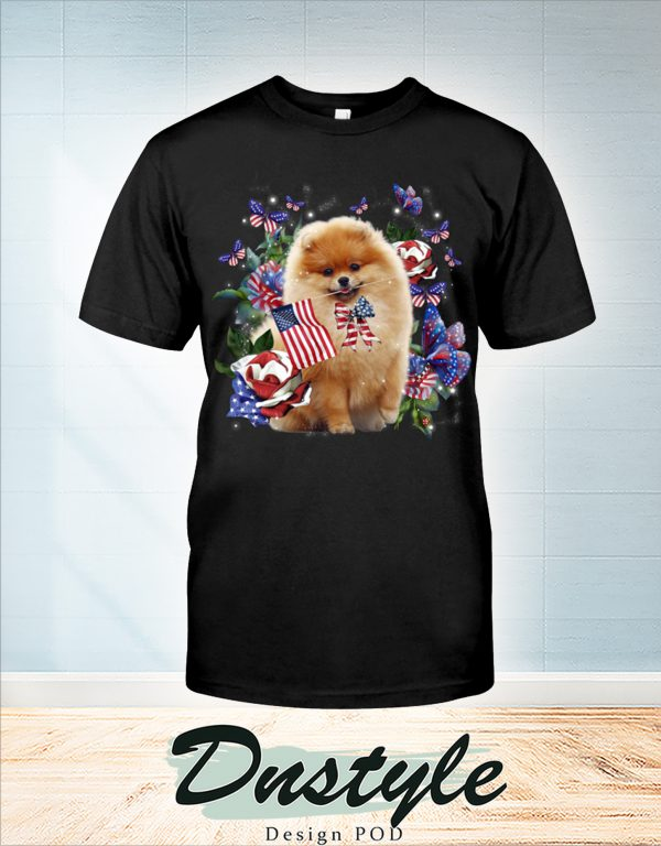 Pomeranian only one nation I love american flag 4th of july t-shirt