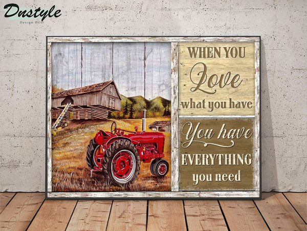 Red tractor when you love what you have canvas
