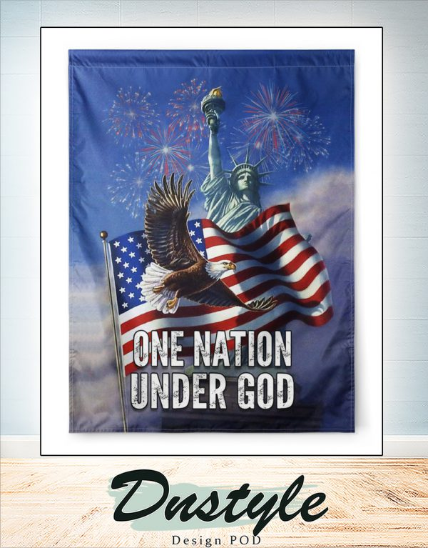 Statue of liberty one nation under god flag