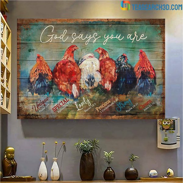 Chickens god says you are jesus canvas