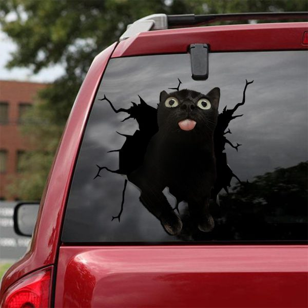 Down syndrome black cat crack car decal sticker