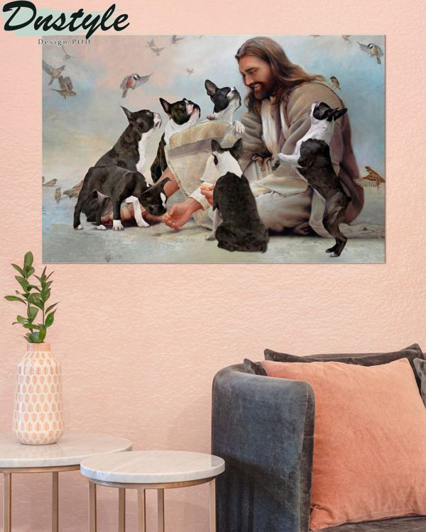 God surrounded by Boston Terrier angels poster