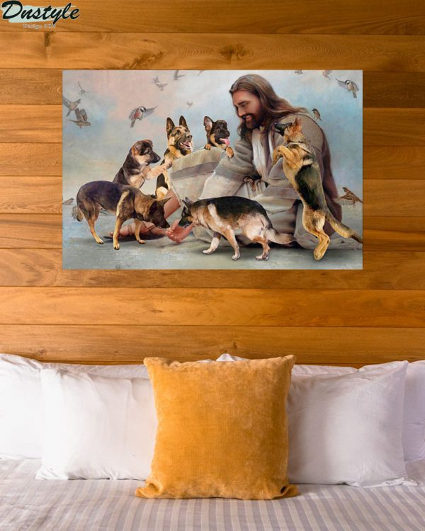 God surrounded by German Shepherd angel poster