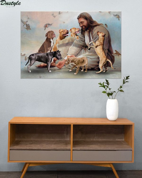 God surrounded by Pitbull angels poster