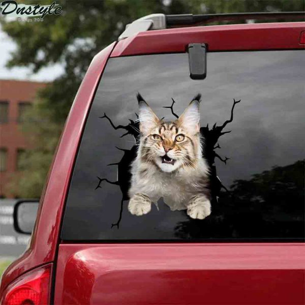 Maine coon cat crack car sticker cats lover