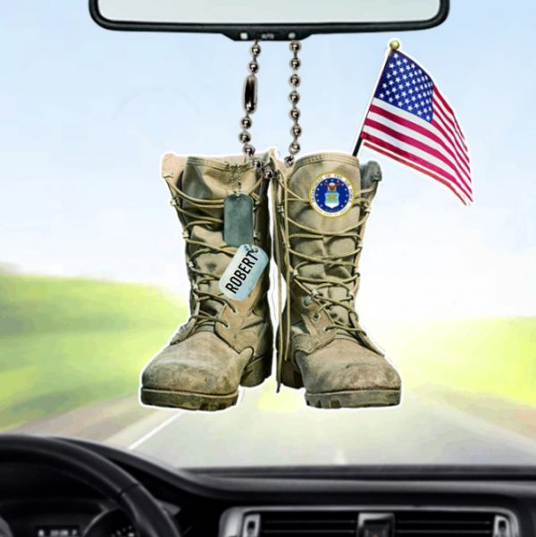 Personalized Dept Of The Air Force Military Boots Car Ornament