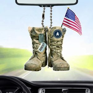 Personalized US Space Force Military Boots Car Ornament